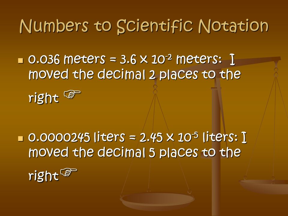 Numbers to Scientific Notation