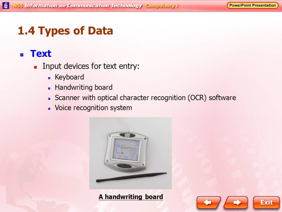 1.4 Types of Data Text Input devices for text entry: Keyboard