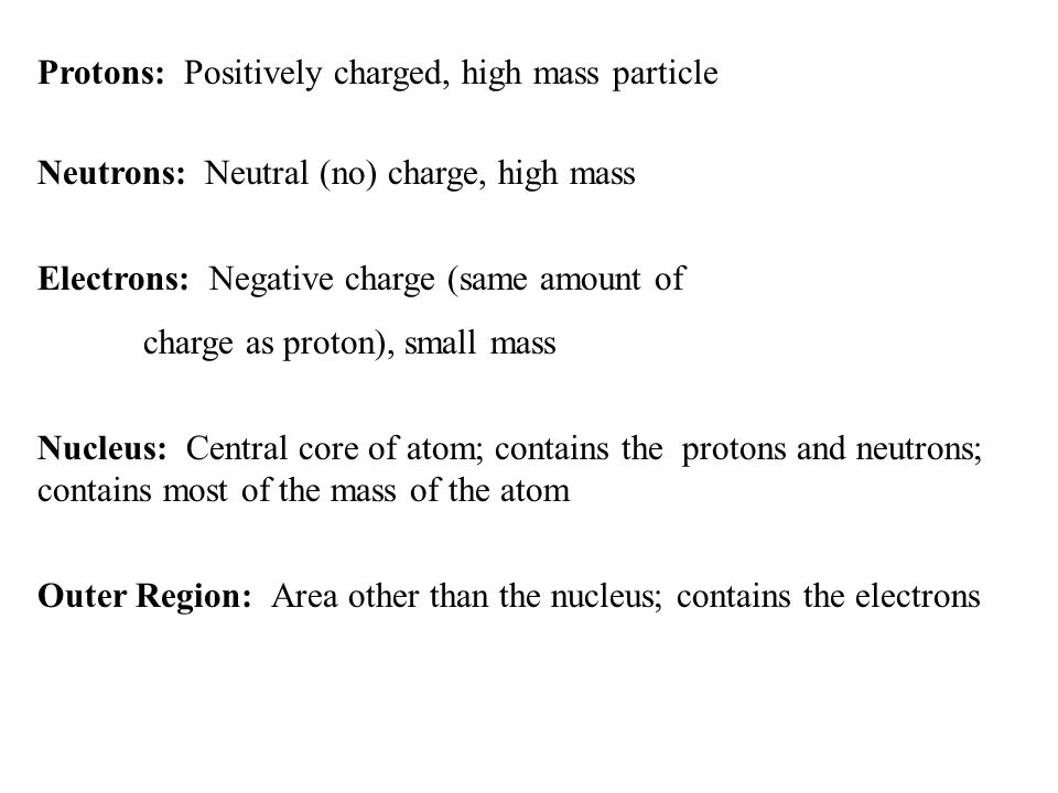 Atoms elements and the periodic table ppt download protons positively charged high mass particle urtaz Images
