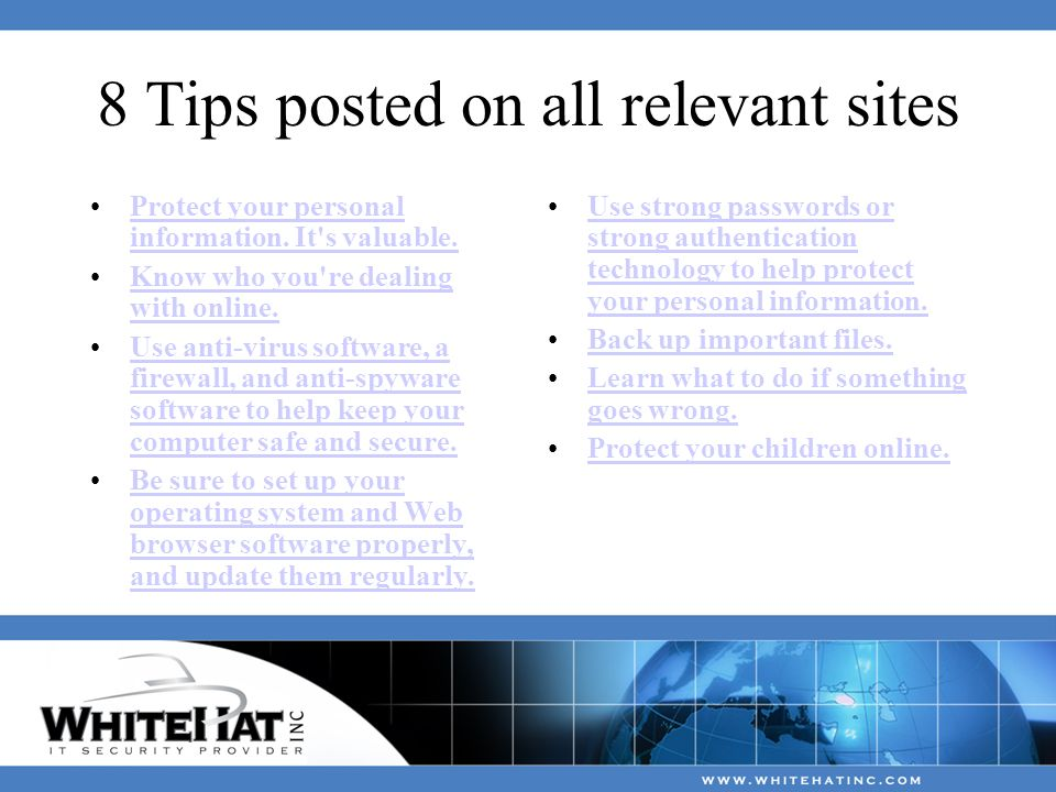 8 Tips posted on all relevant sites