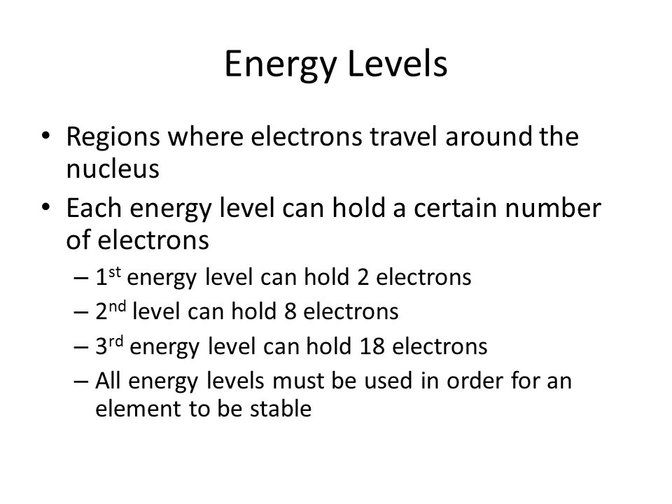Energy Levels Regions where electrons travel around the nucleus