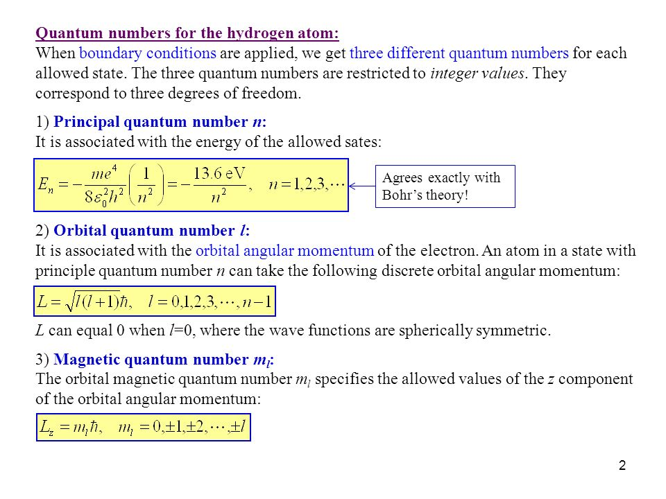 Quantum numbers for the hydrogen atom: