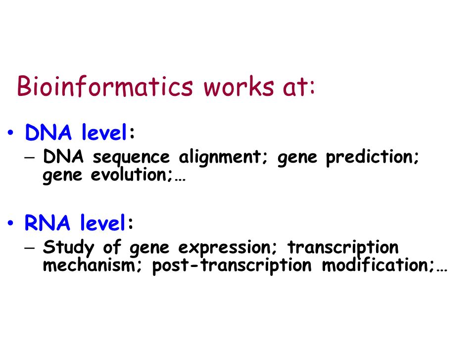 Bioinformatics works at: