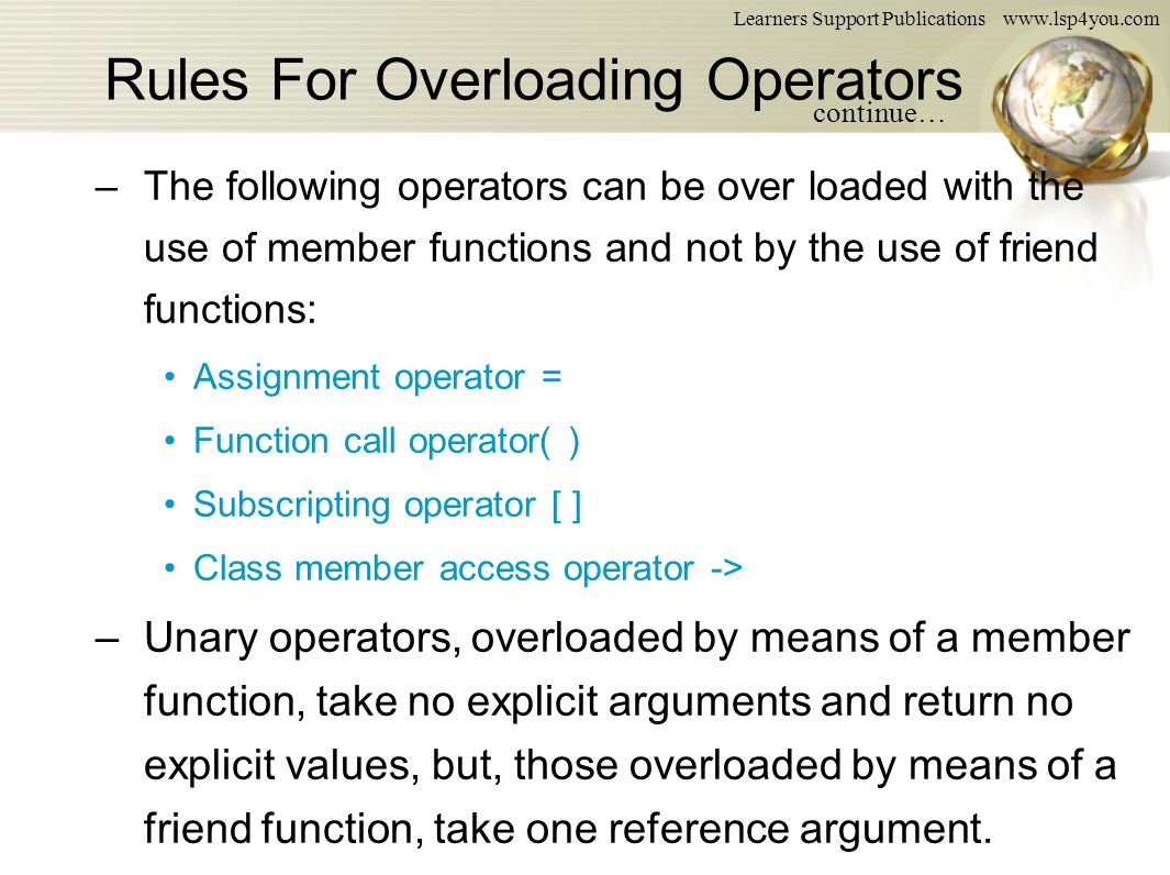 Operator Overloading and Type Conversions - ppt download