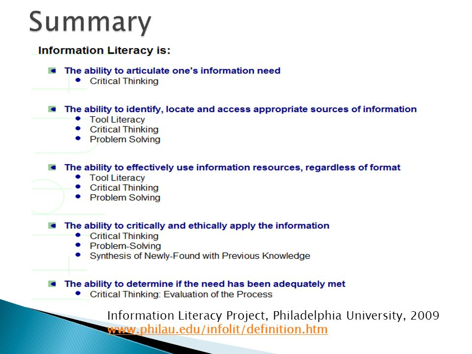 information literacy in project management Information literacy: the key to your future information literacy is the new educational challenge of our generation as our lives become more inundated with information, it is essential that we develop methods and resources to cope with all the information we receive on a daily basis.