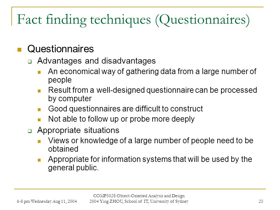 fact finding techniques questionnaires