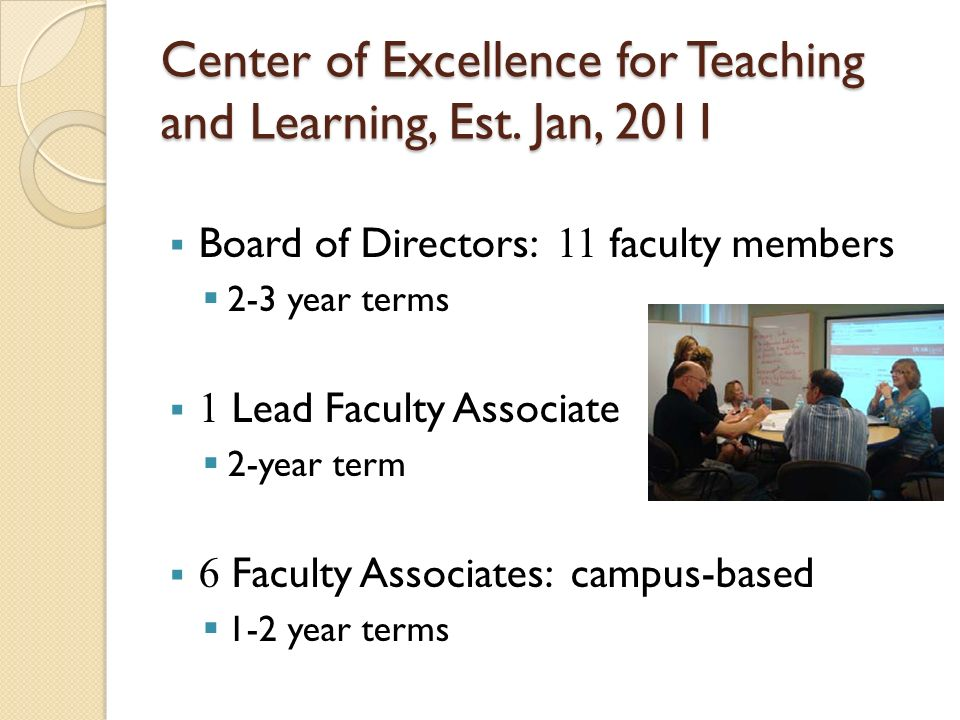 Center of Excellence for Teaching and Learning, Est. Jan, 2011