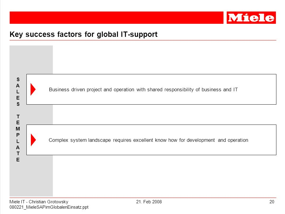 Key success factors for global IT-support