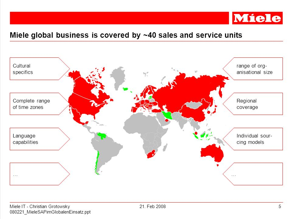 Miele global business is covered by ~40 sales and service units