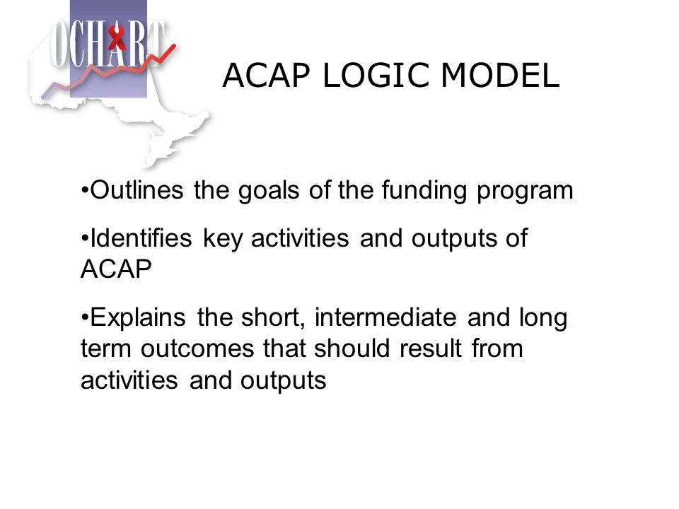 ACAP LOGIC MODEL Outlines the goals of the funding program