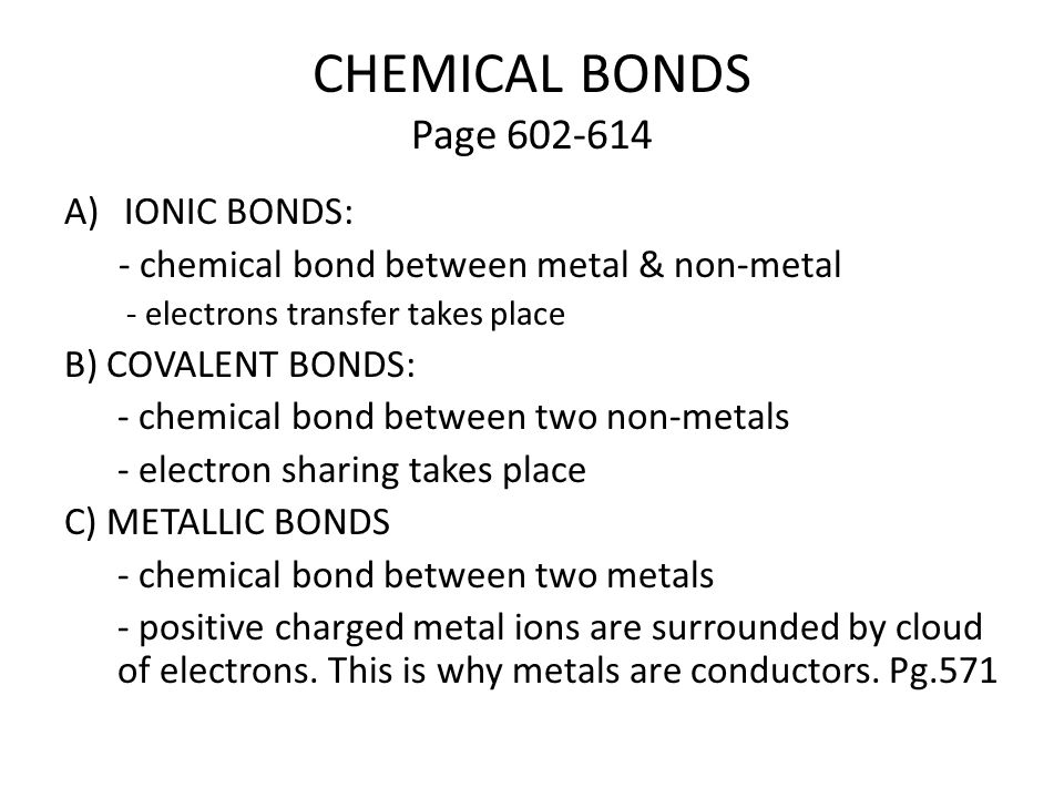 Chemistry Properties Of Chemical Bonds