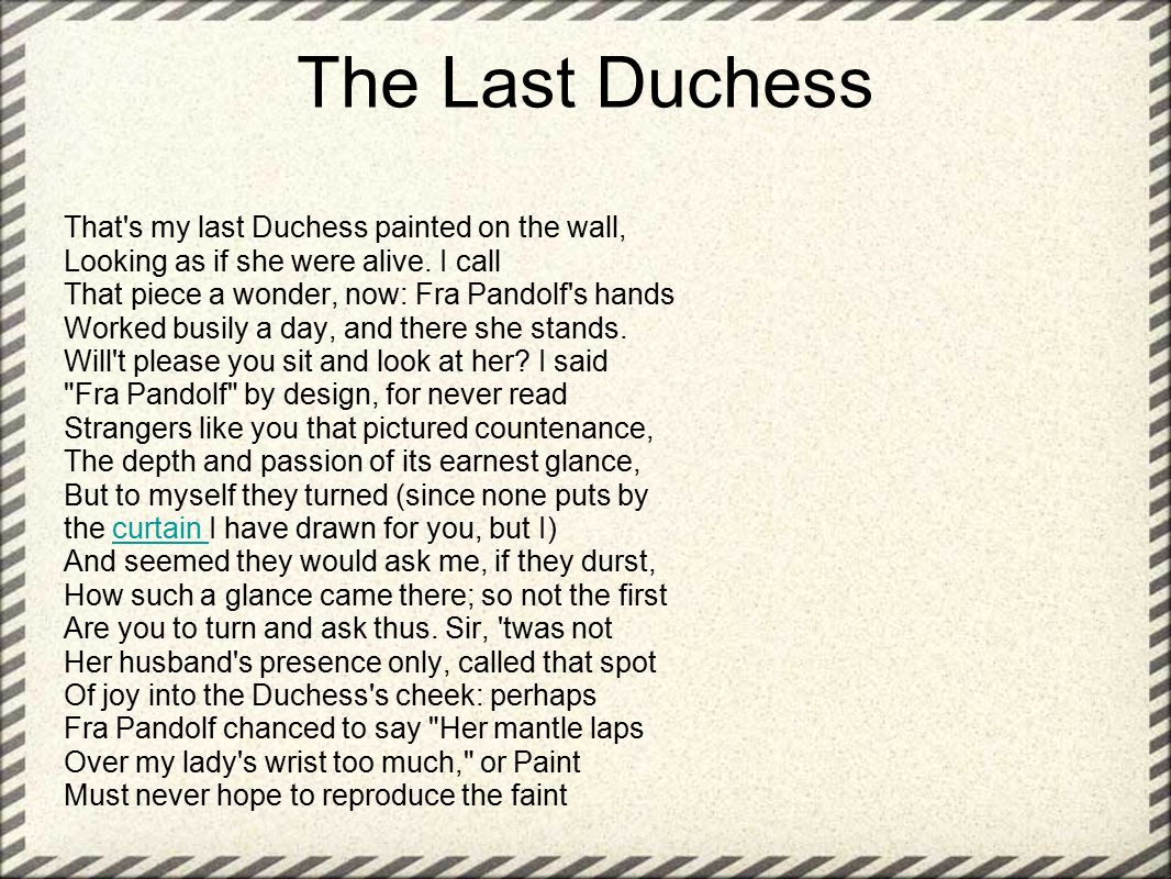 robert browning my last duchess summary