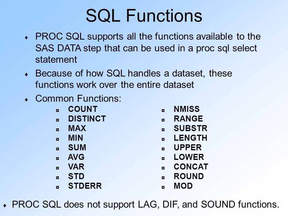 SAS SQL SAS Seminar Series - ppt download