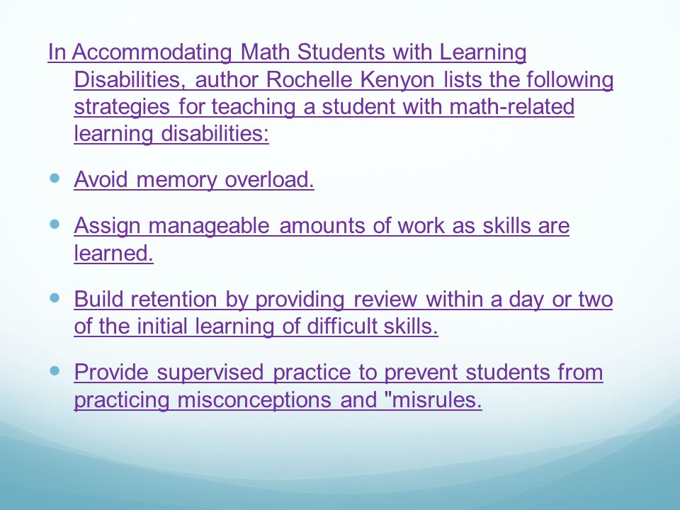 Accommodating math students with learning disabilities