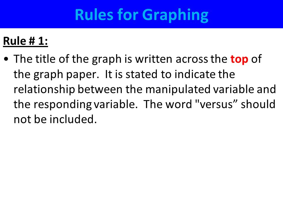 Rules for Graphing Rule # 1: