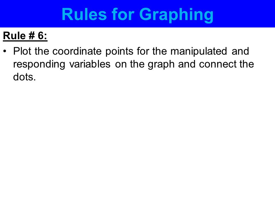 Rules for Graphing Rule # 6: