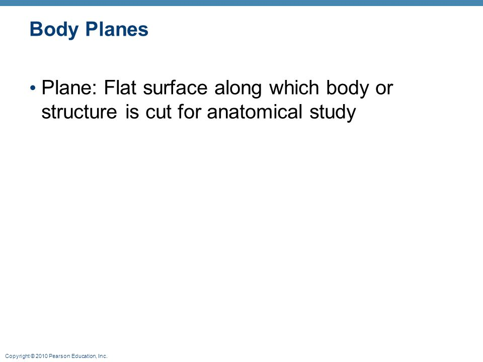 Body Planes Plane: Flat surface along which body or structure is cut for anatomical study