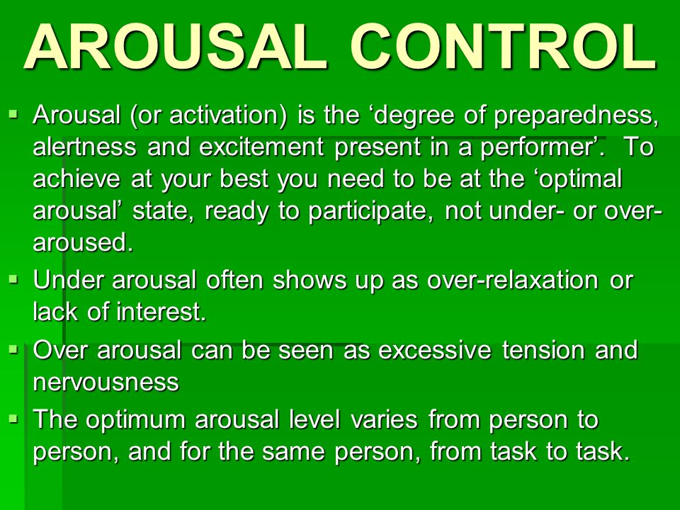 over arousal in sport
