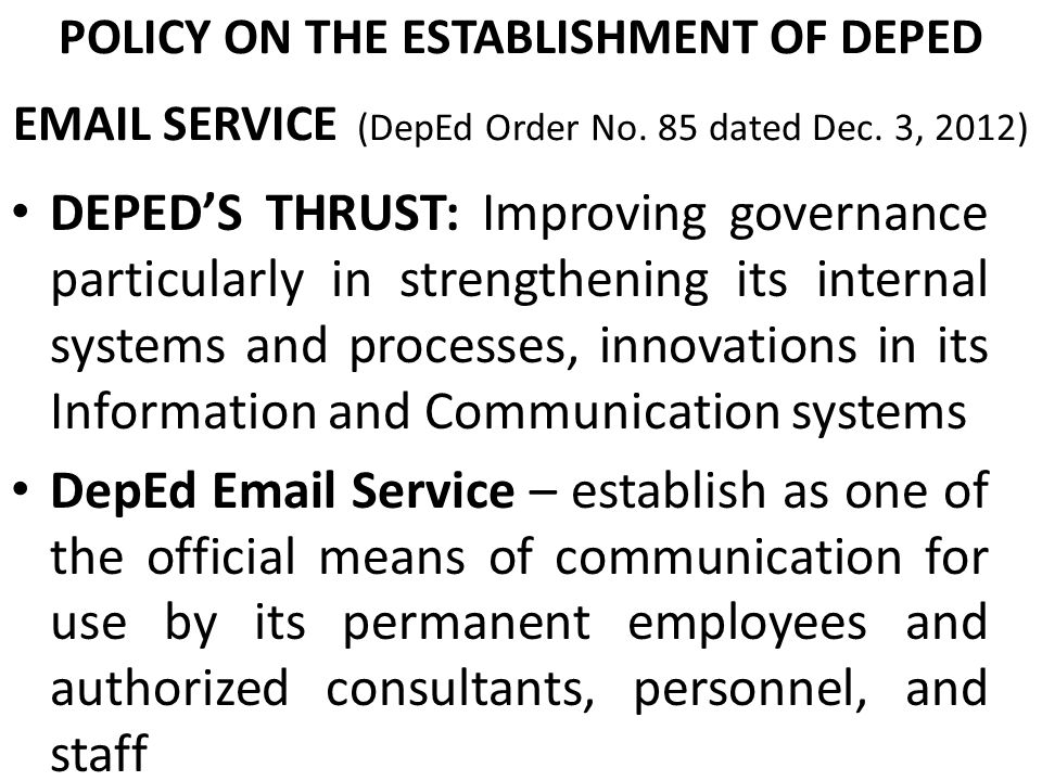 SERVICE DEPED ORDER NO 85 S POLICY Ppt Video Online