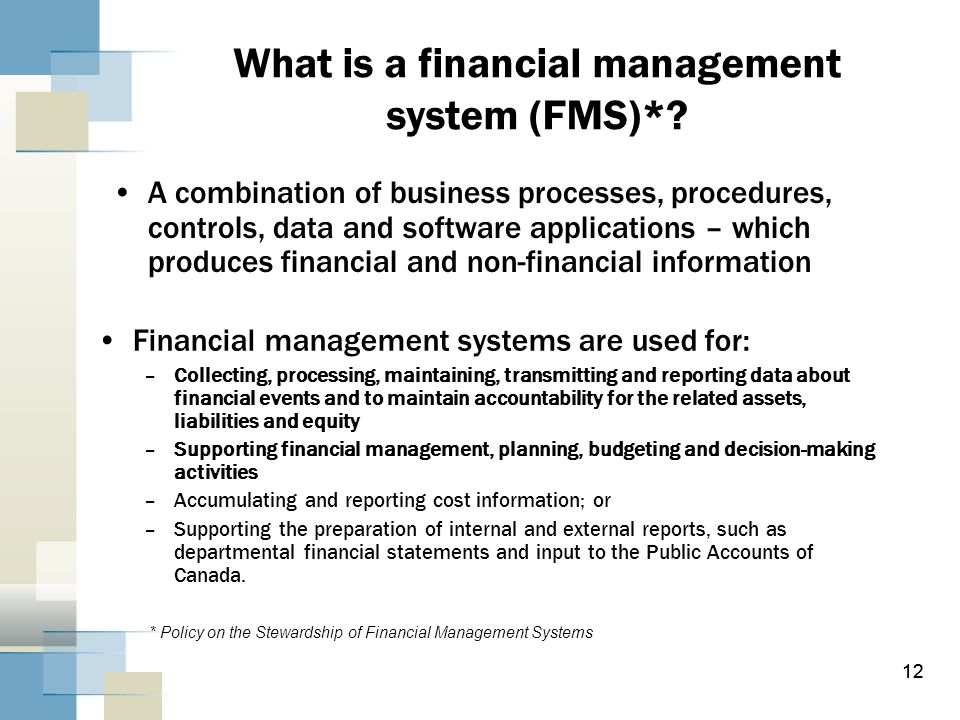 What is a financial management system (FMS)*