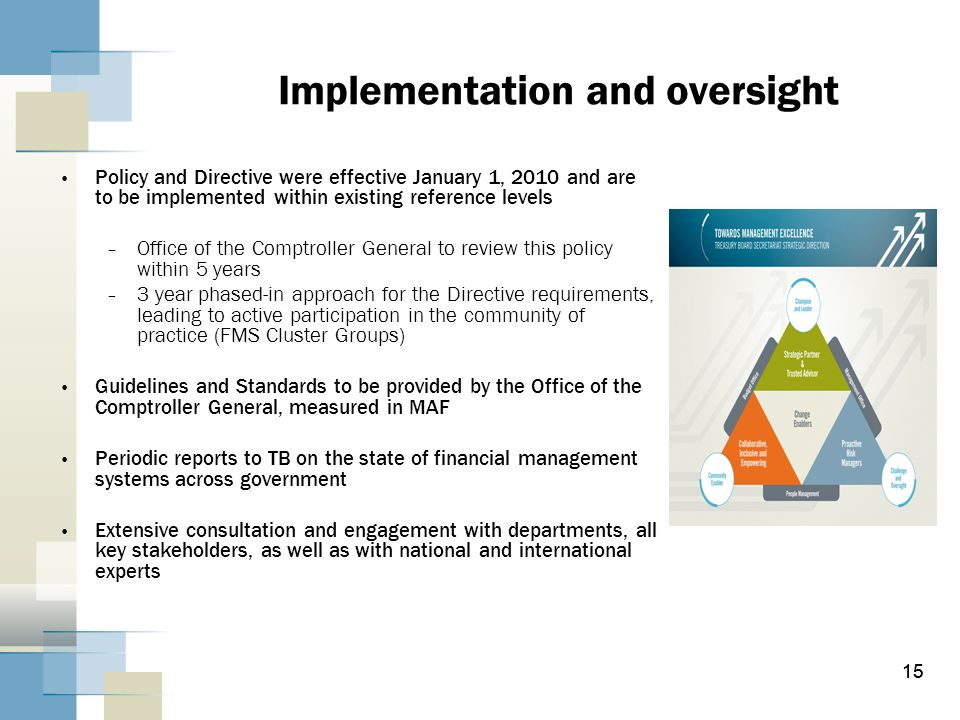 Implementation and oversight