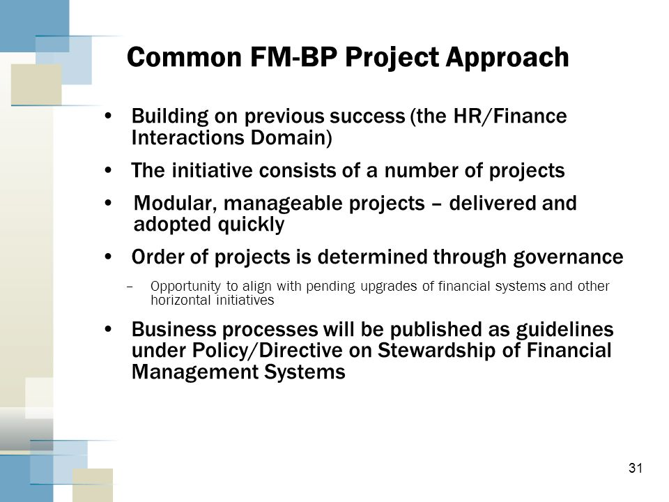 Common FM-BP Project Approach