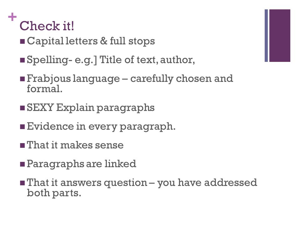 Check it! Capital letters & full stops