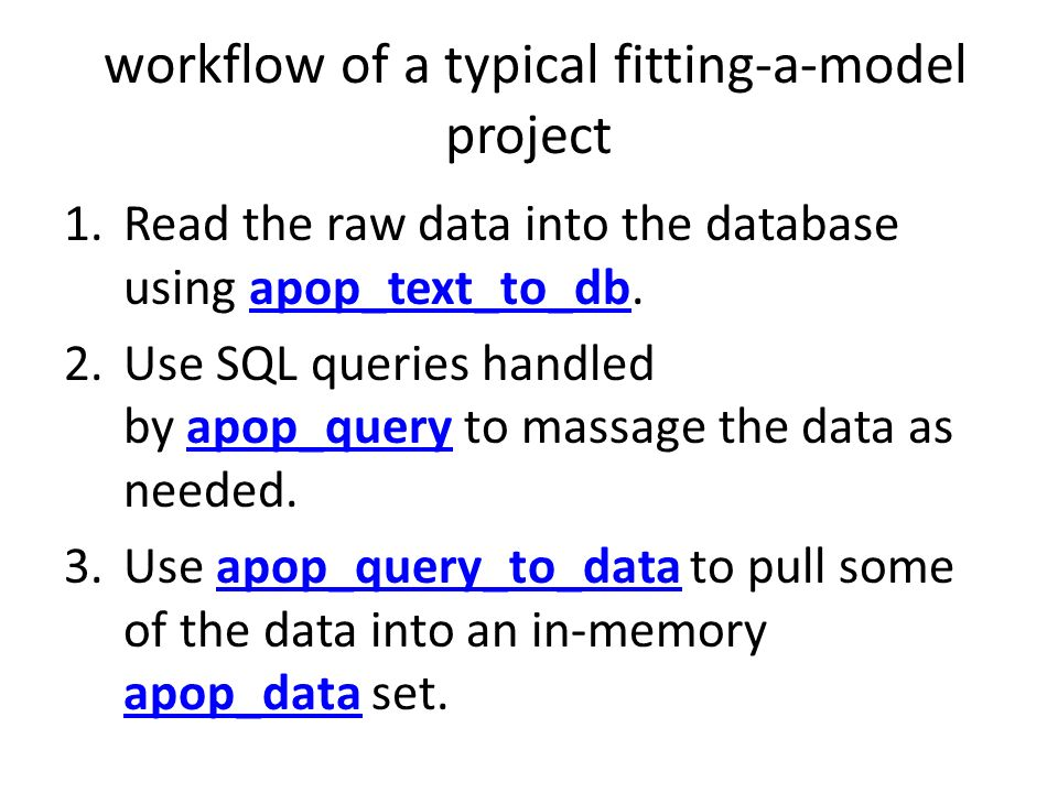 workflow of a typical fitting-a-model project