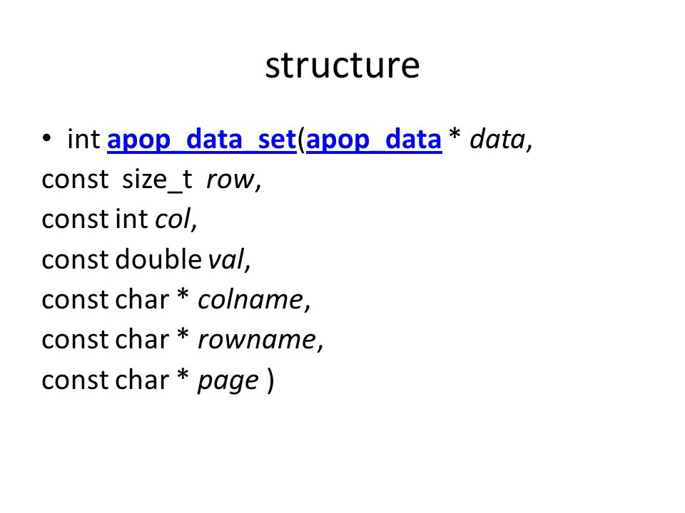 structure int apop_data_set(apop_data * data, const size_t row,