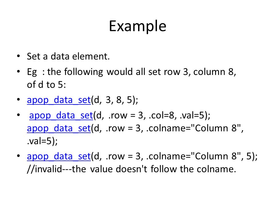 Example Set a data element.