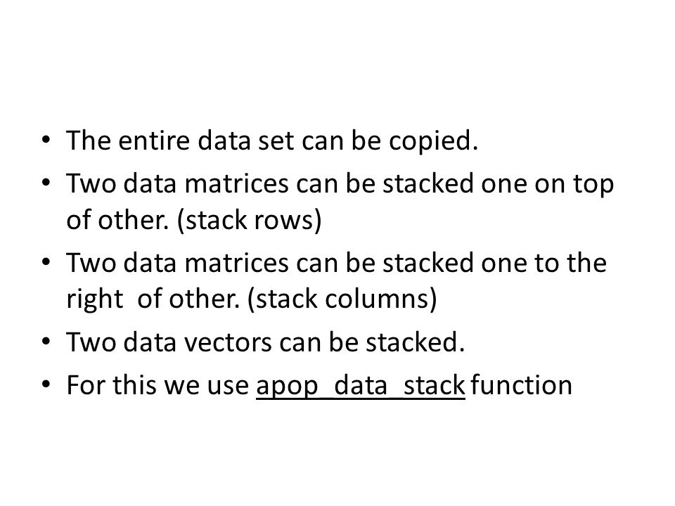 The entire data set can be copied.