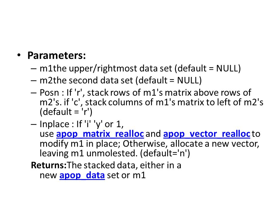 Parameters: m1the upper/rightmost data set (default = NULL)