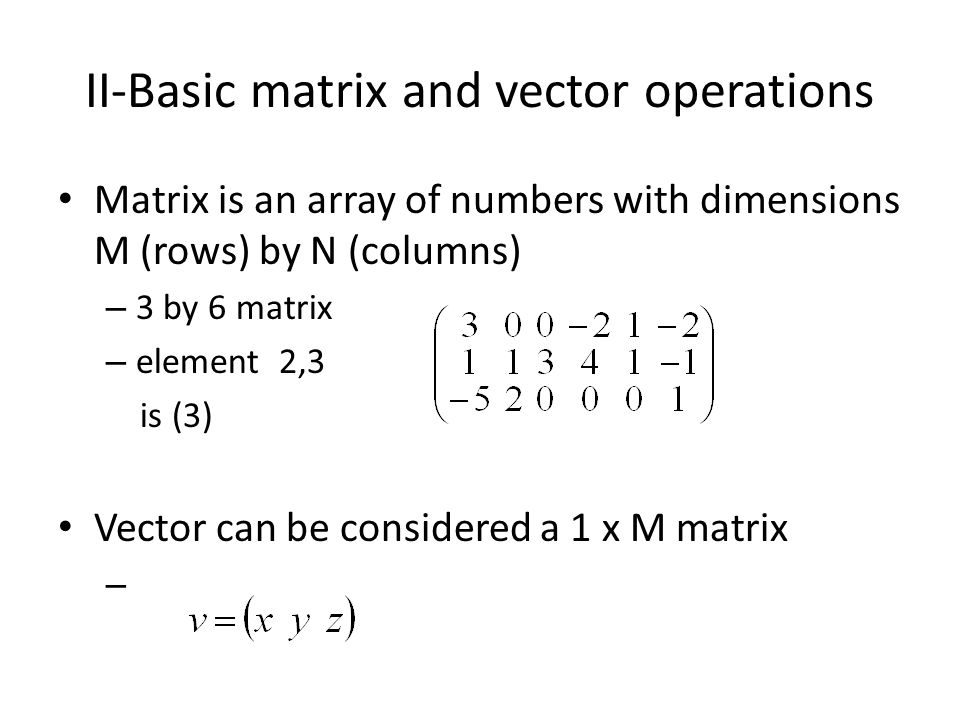 II-Basic matrix and vector operations