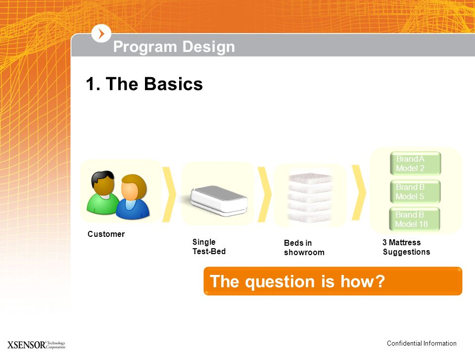 1. The Basics The question is how Program Design Brand A Model 2