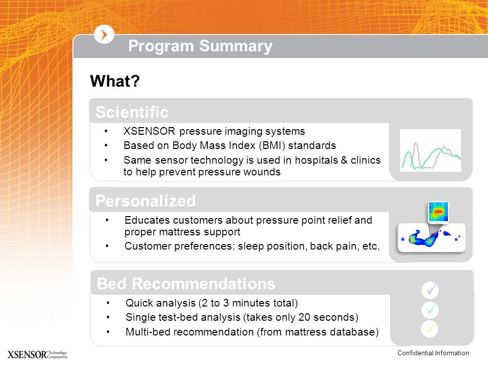 Program Summary What Scientific Personalized Bed Recommendations