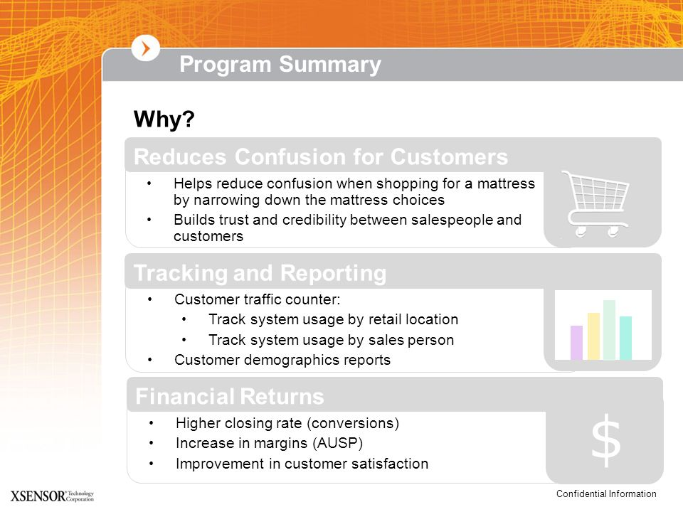 $ Program Summary Why Reduces Confusion for Customers