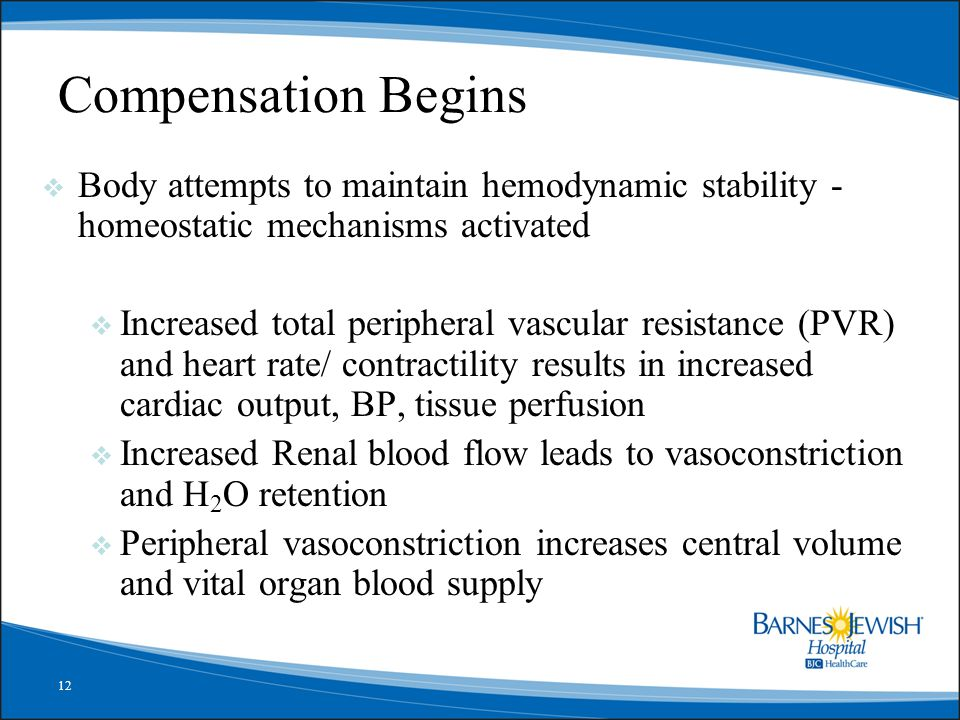 Compensation Begins Body attempts to maintain hemodynamic stability - homeostatic mechanisms activated.