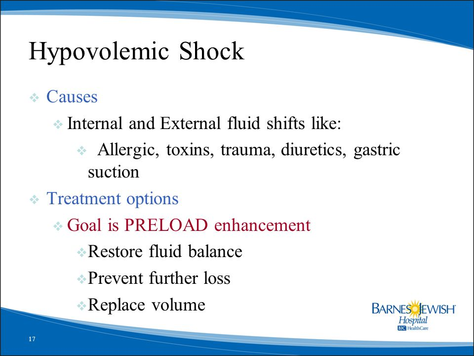 Hypovolemic Shock Causes Internal and External fluid shifts like: