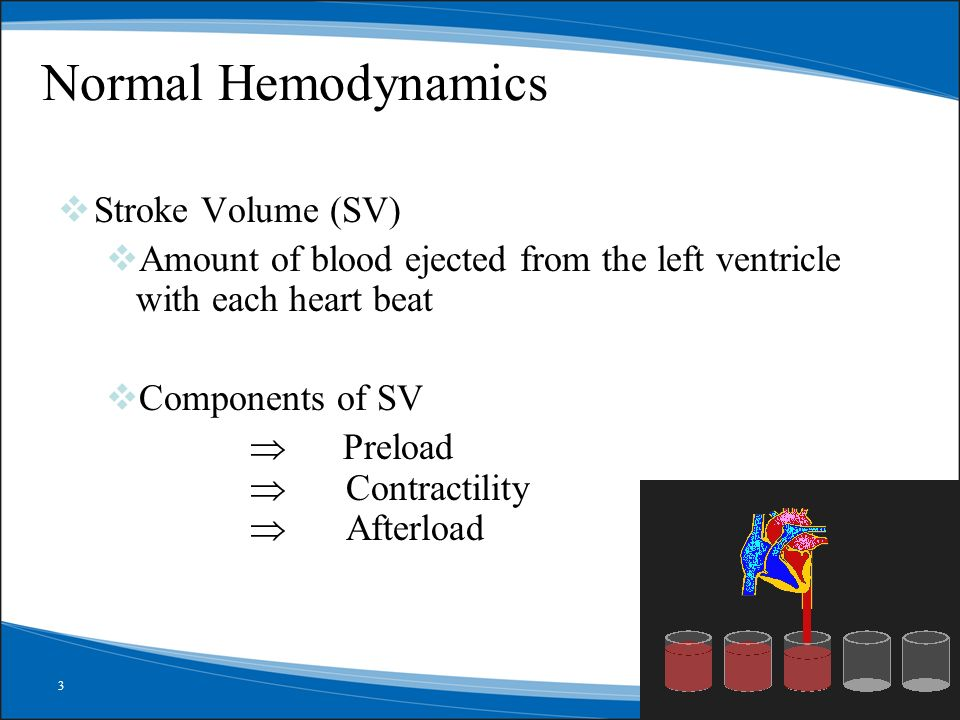 Normal Hemodynamics Stroke Volume (SV)