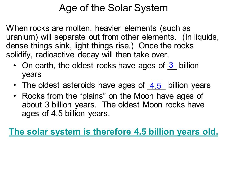 The solar system is therefore 4.5 billion years old.
