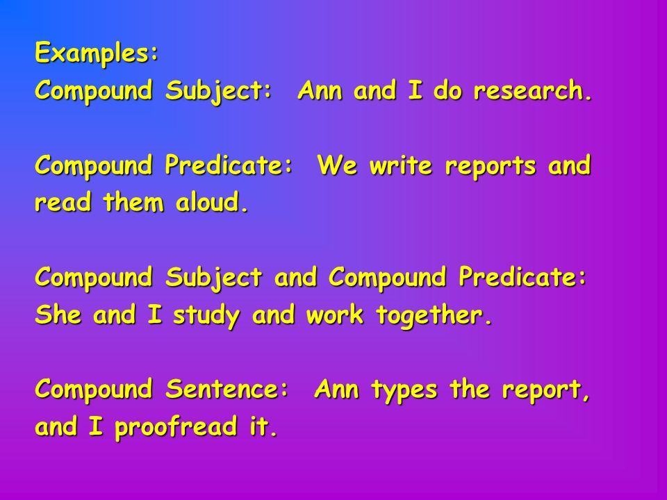 Sentences simple and compound.