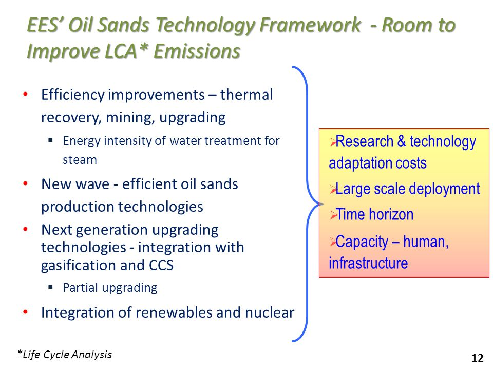 EES' Oil Sands Technology Framework - Room to Improve LCA* Emissions