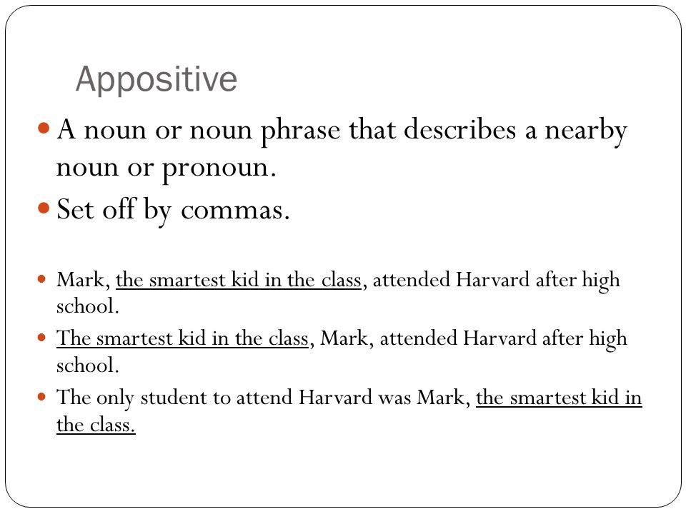 Appositive A noun or noun phrase that describes a nearby noun or pronoun. Set off by commas.