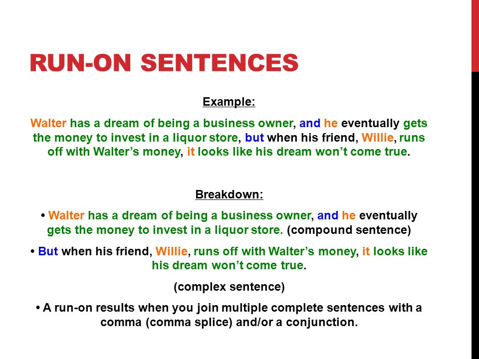 run on sentences | our world neighborhood charter school