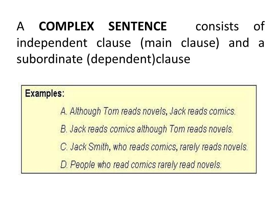 A COMPLEX SENTENCE consists of independent clause (main clause) and a subordinate (dependent)clause