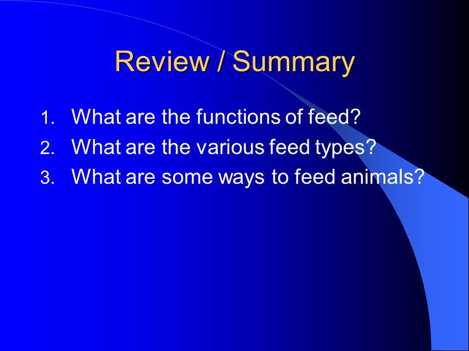 Review / Summary What are the functions of feed