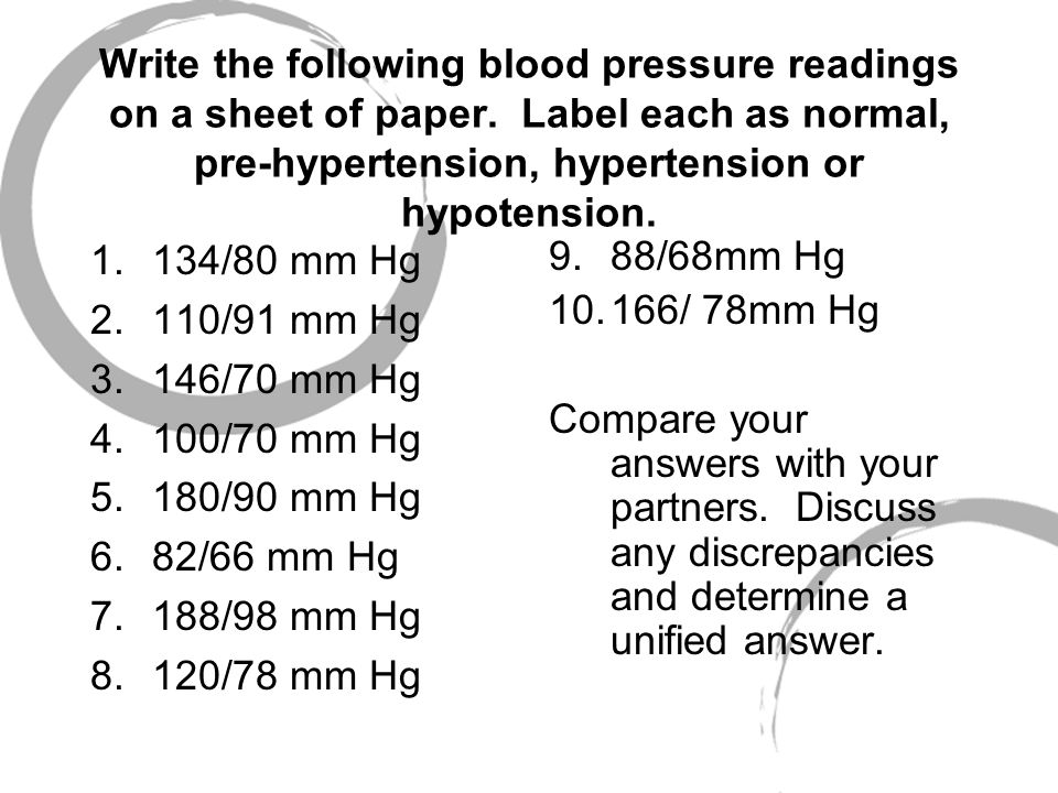Write the following blood pressure readings on a sheet of paper