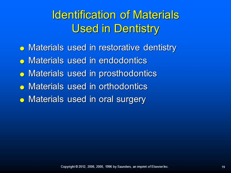 Identification of Restorations, Dental Materials, and Foreign Objects