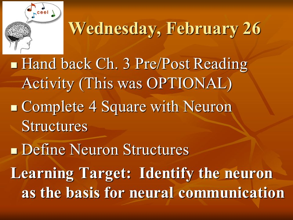 Friday february 28 neural communication quiz on nervous system and discuss parts of a neuron 3 wednesday ccuart Gallery
