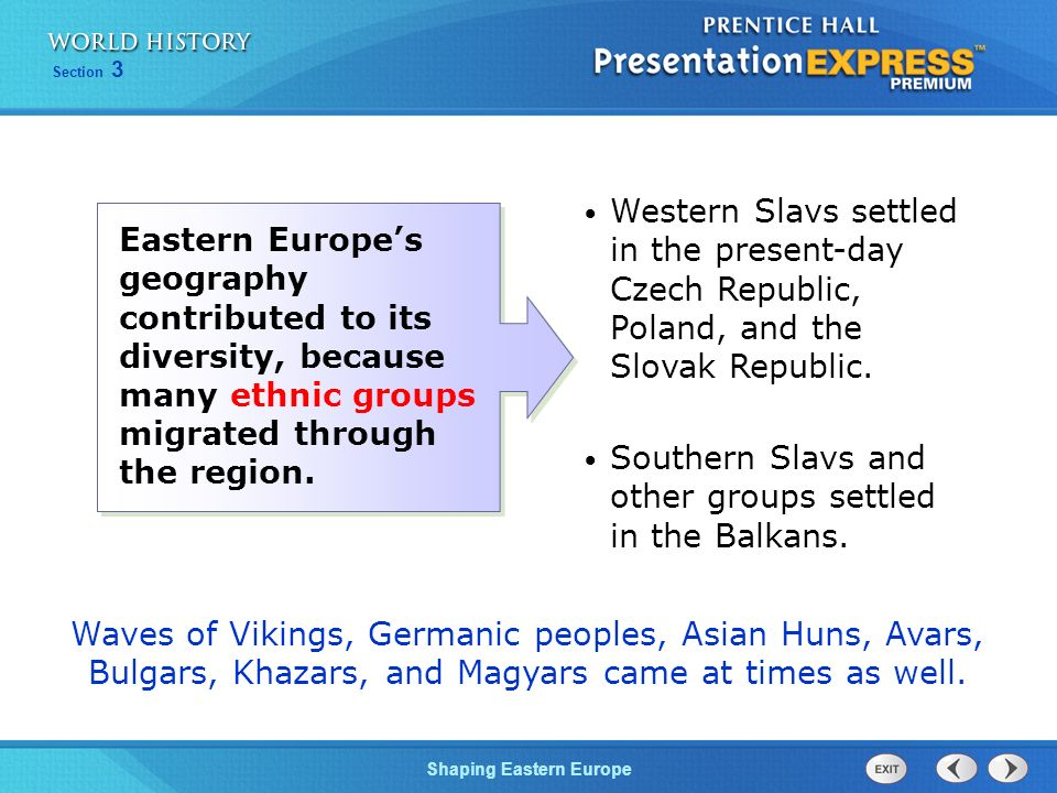 Western Slavs settled in the present-day Czech Republic, Poland, and the Slovak Republic.